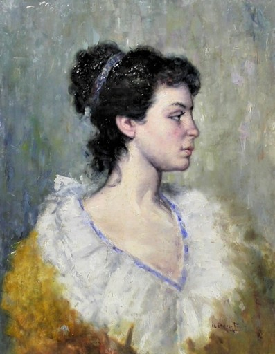 Gaetano ESPOSITO - Gemälde - Jeune italienne femme de profil