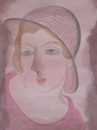 Béla KADAR - Dibujo Acuarela - Portrait of a Young Lady