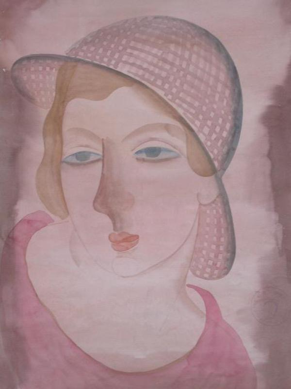 Béla KADAR - Drawing-Watercolor - Portrait of a Young Lady