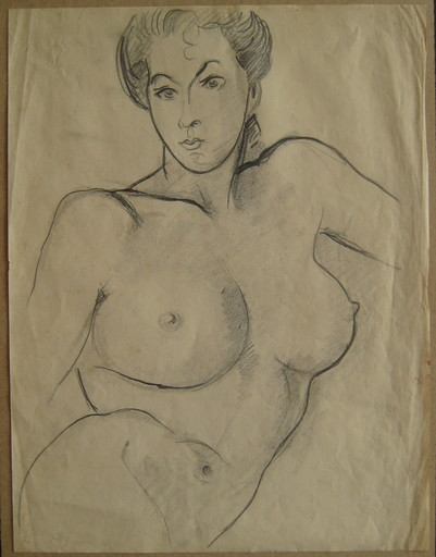 Édouard PIGNON - Dibujo Acuarela - DESSIN AU FUSAIN 1944 SIGNÉ HANDSIGNED CHARCOAL DRAWING