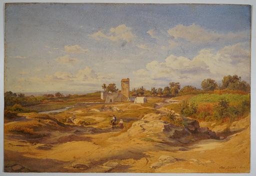 Salomon CORRODI - Drawing-Watercolor - Via Appia near Rome