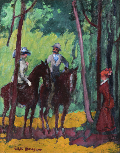Kees VAN DONGEN - Pintura - Cavaliers dans les bois
