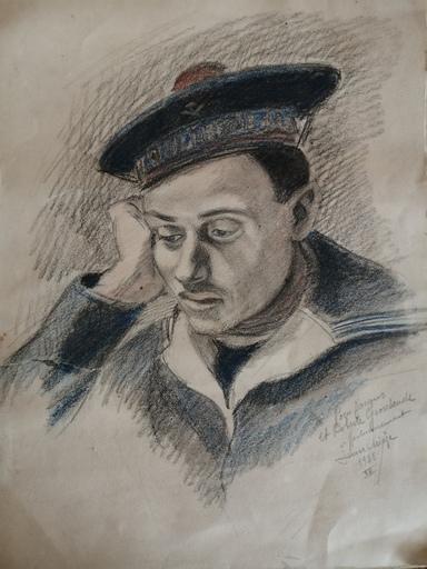 Jean André CHIEZE - Dibujo Acuarela - Marin pensif