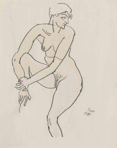 George GROSZ - Dessin-Aquarelle - Sitzender Akt