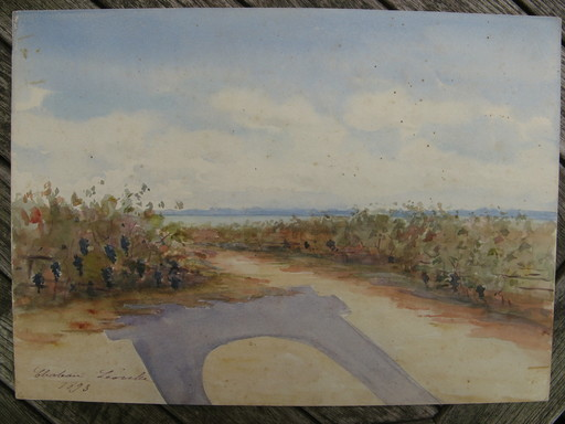 Jehanne MAZELINE - Drawing-Watercolor - VIGNES AU CHATEAU LEOVILLE (MEDOC)