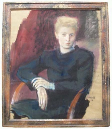 """Franz MOLT - Dessin-Aquarelle - """"Female Portrait"""", Pastel, 1942"""
