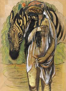 Georges MANZANA-PISSARRO - Pintura - L'orientale au Zèbre