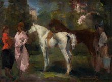Alessio ISSUPOFF - Painting - Couple with Horses in the Italian Countryside