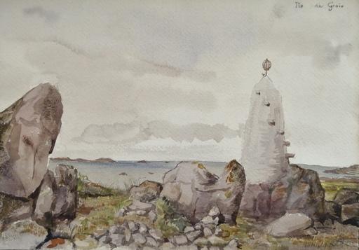Alfred KELLER - Dibujo Acuarela - Ile de Groix - Bretagne - (KP22)