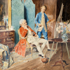 Bernard Louis BORIONE - Drawing-Watercolor - Le peintre dans son atelier
