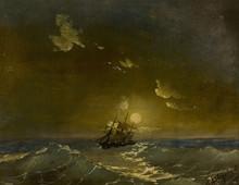 伊凡•康斯坦丁诺维奇•艾瓦佐夫斯基 - 绘画 - A Ship in Moonlit Waters