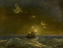 Ivan Constantinovich AIVAZOVSKY - Painting - A Ship in Moonlit Waters