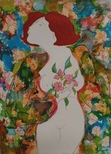 Linda LE KINFF - Drawing-Watercolor - Cubisme Femme E.A Vu aux Orchidees