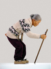 Jackie K. SEO - Sculpture-Volume - Old lady with a walking stick