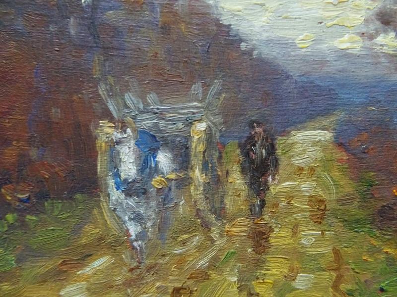 Paul RUE - Painting - Attelage sur un chemin en  berry