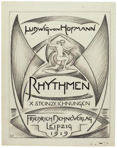 "Ludwig VON HOFMANN - Disegno Acquarello - Titelblatt zur 10-Blatt-Folge ""Rhythmen"" 1919."