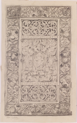 """Alexander JAKESCH - Dibujo Acuarela -  """"Cover of a Gothic Manuscript"""", late 19th Century"""