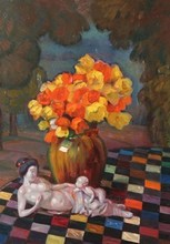 Wilhelm WACHTEL - Painting - Still Life with Flowers and Japanese Figurine
