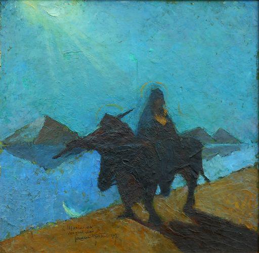 Fernand HERTENBERGER - Painting - la fuite en EGYPTE