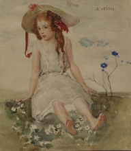 """Eduard VEITH - Dibujo Acuarela - """"On the Lawn"""" , Watercolor by Eduard Veith, ca 1900"""