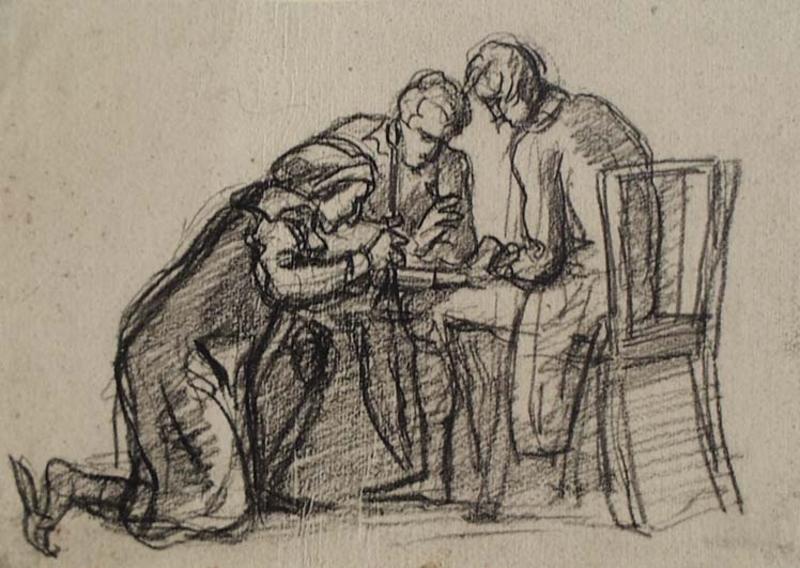 "Cornelis CELS - Zeichnung Aquarell - ""Chess Game"""