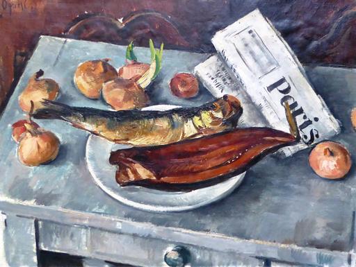 Takanori OGUISS - Painting - Nature morte aux poissons, aux oignons et au journal