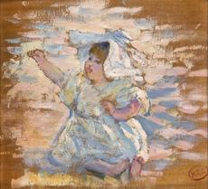 """Henri Edmond CROSS - Painting - Study for """"Mère jouant avec son enfant"""""""