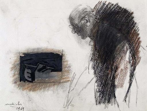 Carlo MATTIOLI - Drawing-Watercolor - SELF-PORTRAIT