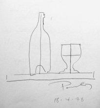 Pavlos DIONYSSOPOULOS - Drawing-Watercolor - Bouteille et verre