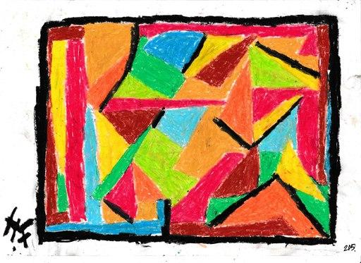 Harry BARTLETT FENNEY - Drawing-Watercolor - abstrait sur rouge line (2)