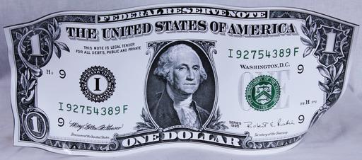 Karl LAGASSE - Sculpture-Volume - One Dollar - White