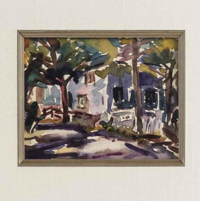 Alice SCHILLE - Dibujo Acuarela - A Shaded Cottage on the Village Street