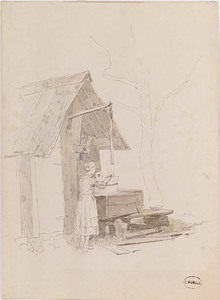 """Leopold MUNSCH - Dibujo Acuarela - """"At the Well"""", late 19th Century"""
