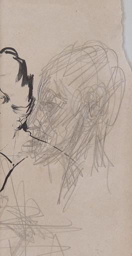 Alberto GIACOMETTI - Dessin-Aquarelle - Visage de profil