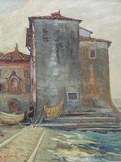 Eugenio BARONI - Painting - Il porto vecchio.