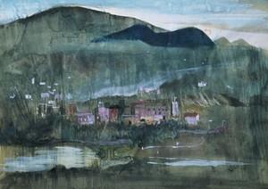 Marino MARINI - Dibujo Acuarela - Paesaggio