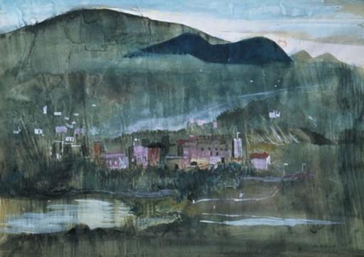 Marino MARINI - Disegno Acquarello - Paesaggio
