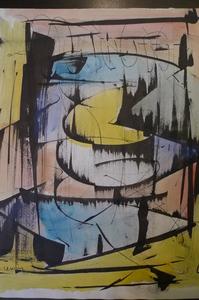 Joseph LEVIN - Dessin-Aquarelle - composition abstraite 6