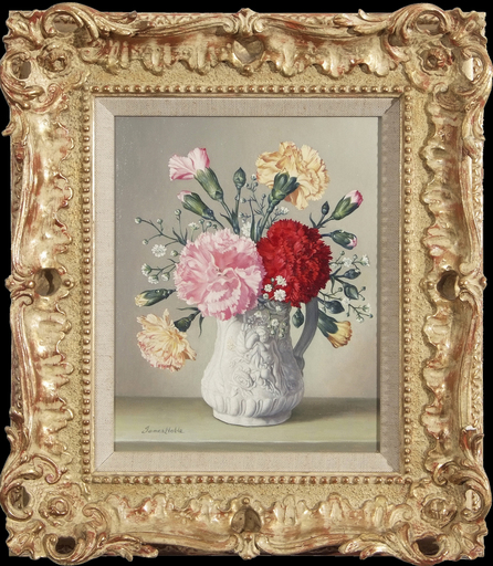 James NOBLE - Gemälde - Carnations in a Cupid Jug