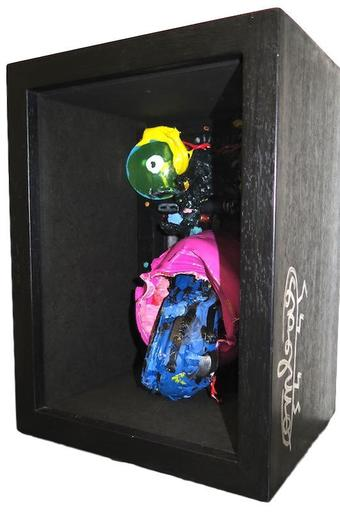 Robert COMBAS - Sculpture-Volume - Tête dans boîte