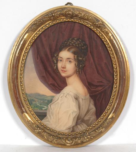 "Franz Napoleon HEIGEL - Zeichnung Aquarell - ""Portrait of artist's sister Henriette"", watercolor, ca.1835"