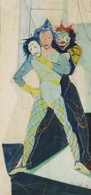 Marcel DELMOTTE - Dibujo Acuarela - Personnages de cirque