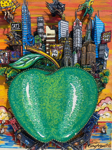 Charles FAZZINO - Pintura - Green apple on Broadway
