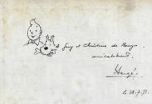 HERGÉ - Drawing-Watercolor - Tintin et Milou