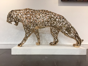 Richard ORLINSKI - Sculpture-Volume - Wild panther dentelle bronze doré