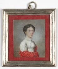 "Jean Marie Joseph INGRES - Dibujo Acuarela - ""Portrait of a Lady"" rare miniature, 1810s"
