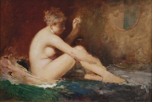"""Jean Alfred MARIOTON - Peinture - """"Weiblicher sitzender Akt"""""""