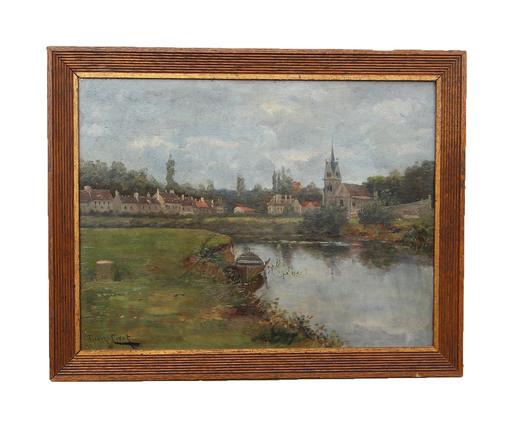 Franck CINOT - Pintura - Crécy-en-Brie, la Collégiale (circa 1880)