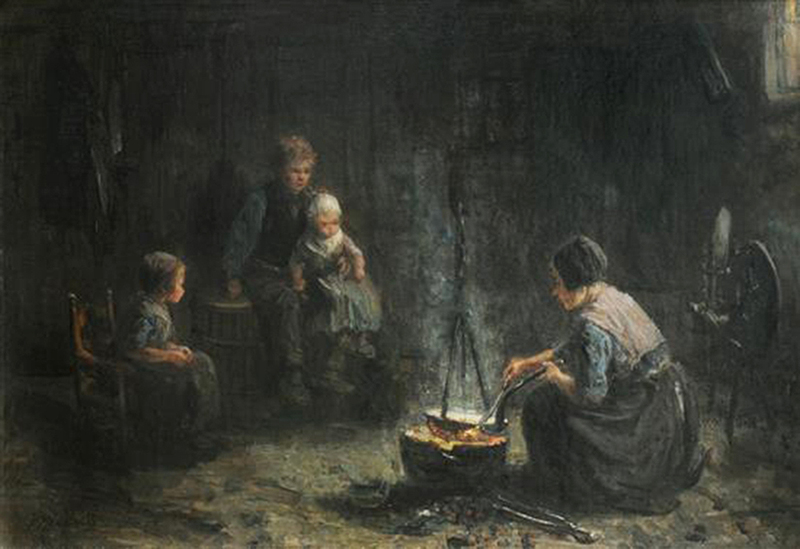 Jozef ISRAELS - Painting - Cooking the Family Dinner
