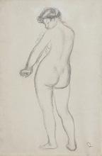 Pierre-Auguste RENOIR - Drawing-Watercolor - Baigneuse de dos s'essuyant